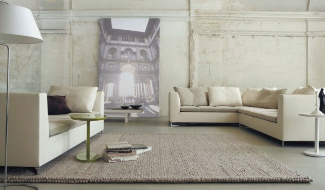 Minimalist-Urban-Loft-Living-Room-With-Cream-Sofas-And-Light-Brown-Rugs